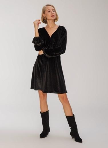 People By Fabrika Kruvaze Kadife Elbise Siyah